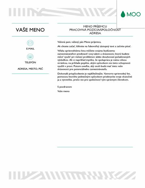 Kreatívny sprievodný list zdielne spoločnosti MOO