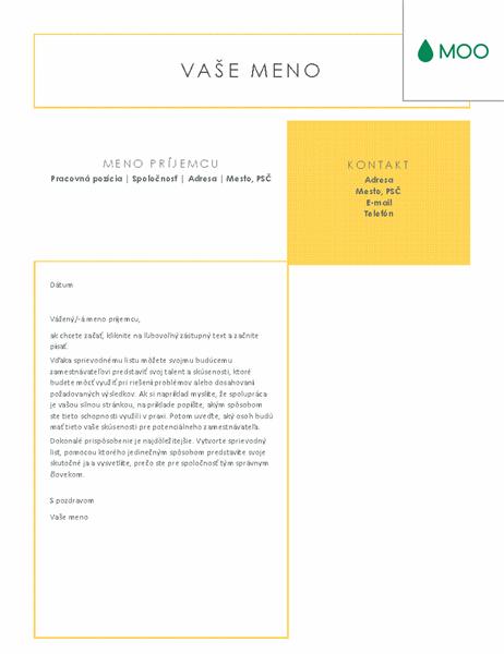 Elegantný asvieži sprievodný list zdielne spoločnosti MOO