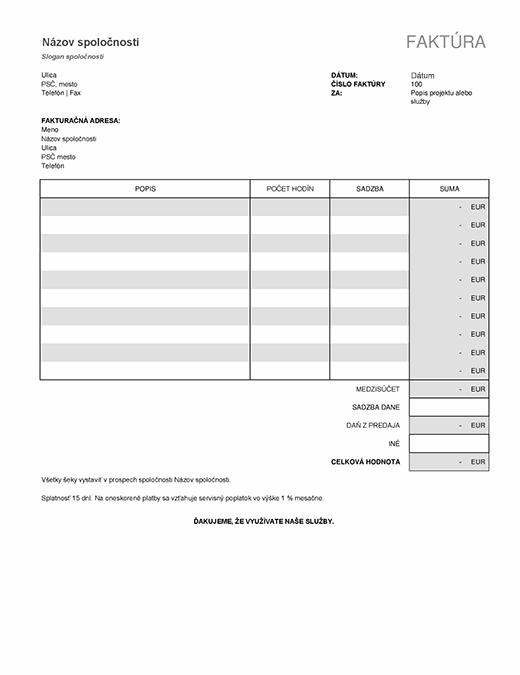Faktúra za služby s výpočtom dane