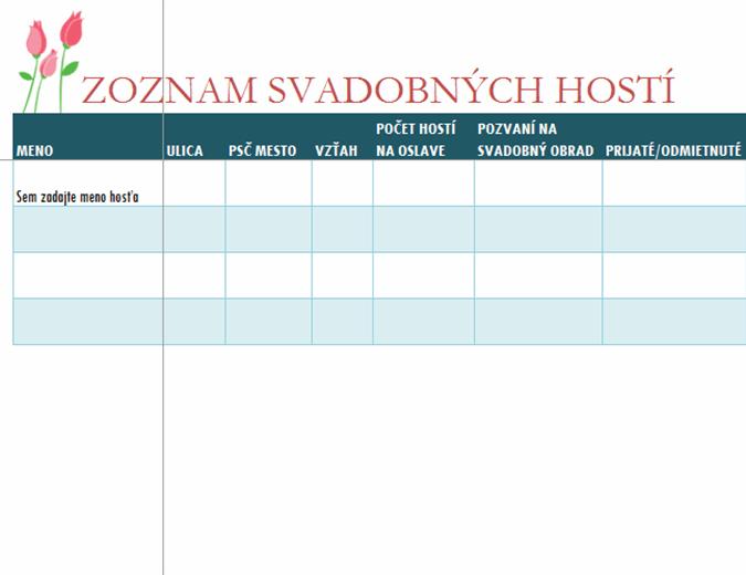 Zoznam svadobných hostí (stulipánmi)