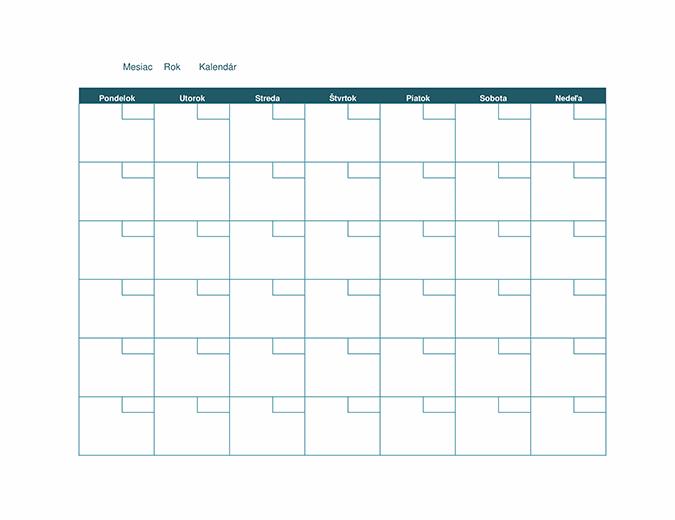 Prázdny mesačný kalendár