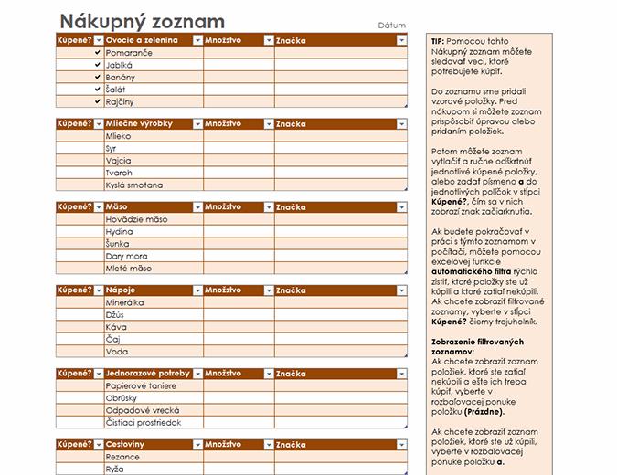 Zoznam potravín spriestorom na značku