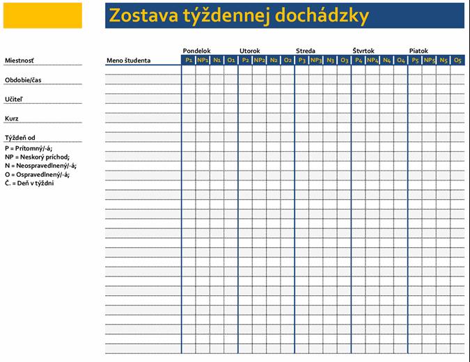 Zostava týždennej dochádzky