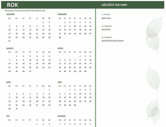 Obchodný kalendár (ľubovoľný rok, pondelok až nedeľa)