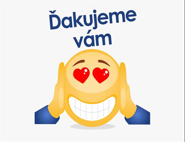 Pozdrav s poďakovaním v podobe emoji