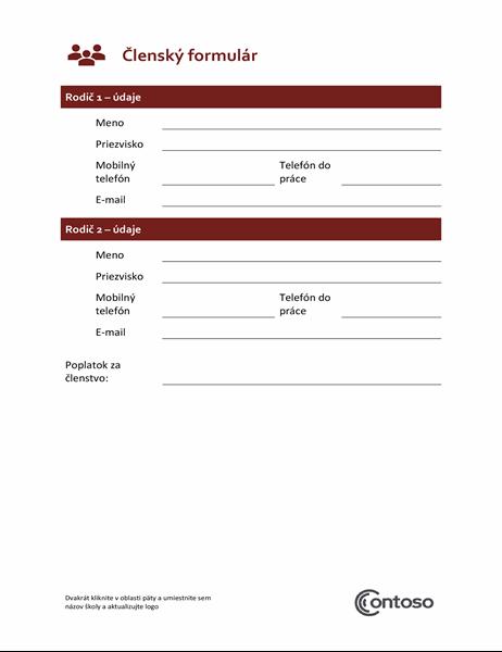 Členský formulár