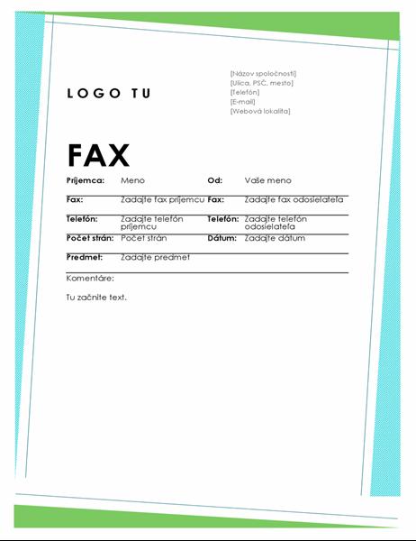 Geometrická titulná strana faxu