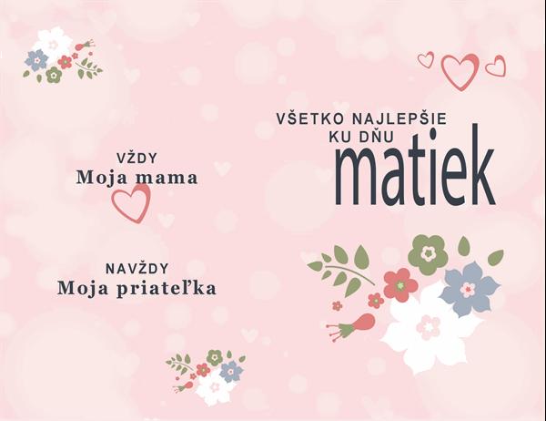 Karta ku Dňu matiek Kráska v ružovom