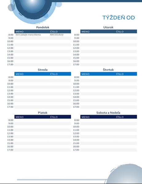 Kalendár plánovaných činností s modrými kruhmi