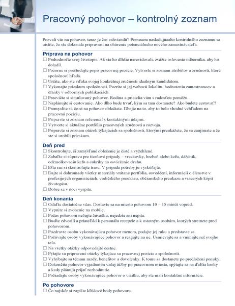 Pracovný pohovor – kontrolný zoznam