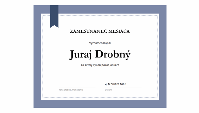 Certifikát zamestnanec mesiaca
