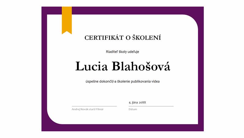 Certifikát školenia
