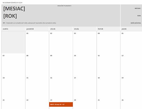 Kalendár domácich úloh
