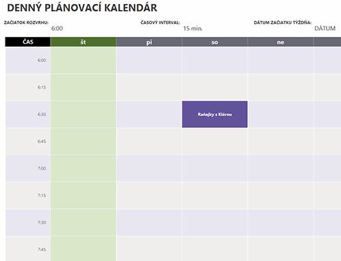 Denný kalendár plánovaných činností