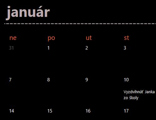 Nekonečný kalendár skartami (čierna farba)