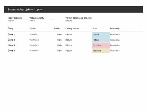 Zoznam úloh projektov skupiny