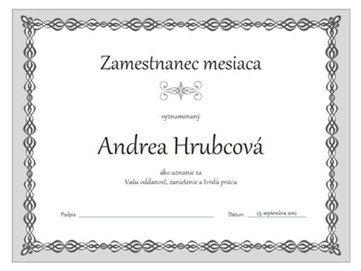 Certifikát Zamestnanec mesiaca (sivý návrh s retiazkou)