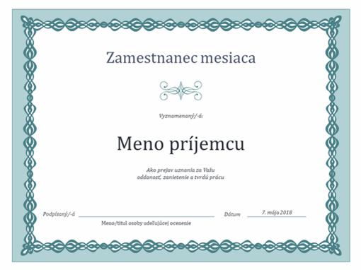 Certifikát pre zamestnanca mesiaca (návrh s modrou reťazou)