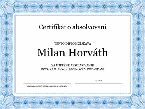 Certifikát oabsolvovaní (modrý)