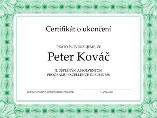 Certifikát oukončení (zelený)