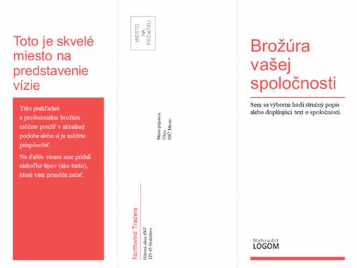Trikrát preložená brožúra pre obchodné alebo medicínske účely (červená, biely návrh)