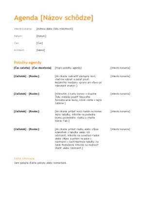 Agenda obchodnej schôdze (návrh v oranžovej farbe)