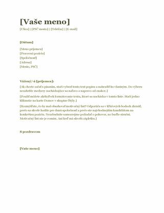 Motivačný list kživotopisu (zelený)