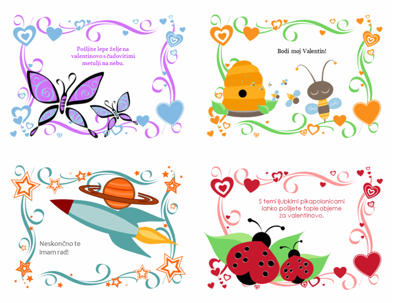 Otroške voščilnice za valentinovo (24 oblik)