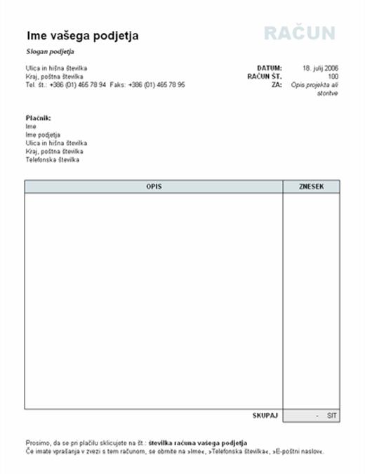 Račun, na katerem je izračunan skupni znesek