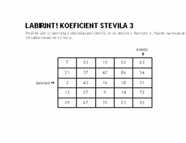 1. stopnja številskega labirinta, koeficient števila 3