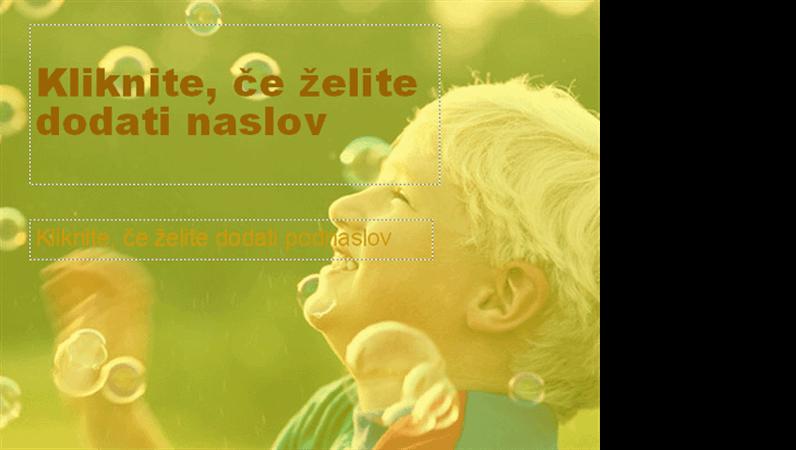 Oblikovna predloga z motivom fantka, ki ga obkrožajo milni mehurčki