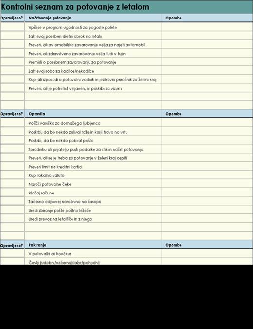 Kontrolni seznam za potovanje z letalom