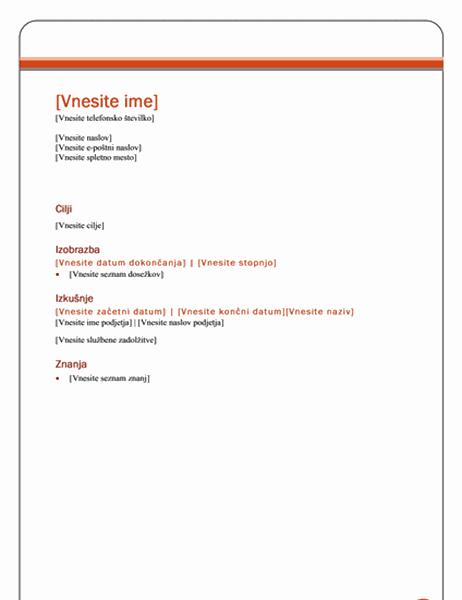Življenjepis (tema »Poslovni izid«)