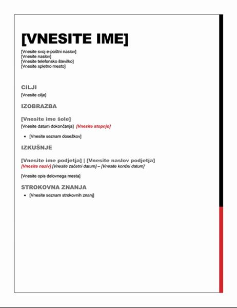 Življenjepis (oblika »Osnovno«)