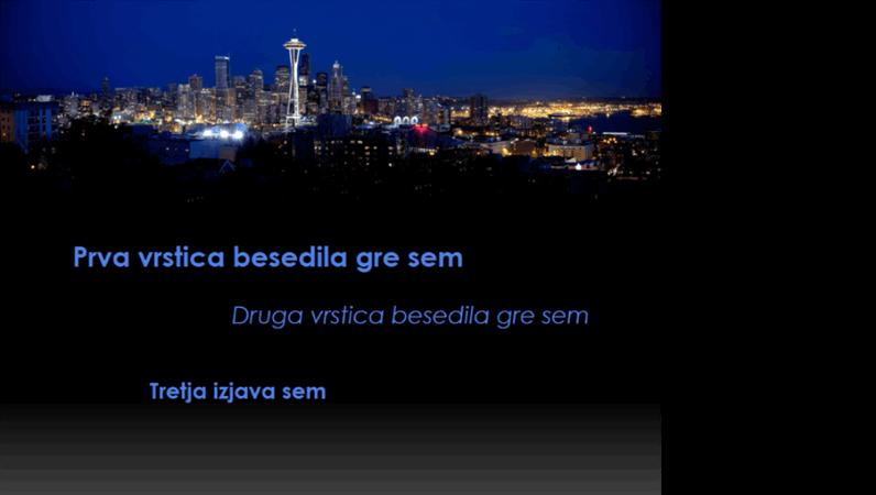 Animirani napisi se premikajo in spremenijo barvo nad obrisom Seattla