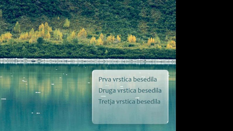 Odtemnitev animiranih napisov v pogled prek ozadja gozda