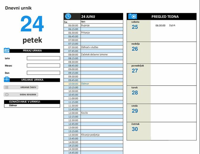 Razpored dnevnega dela