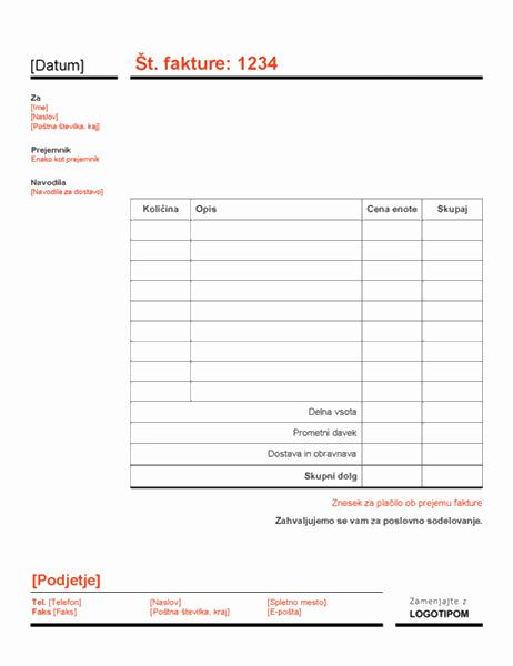 Poslovna faktura (rdeče)