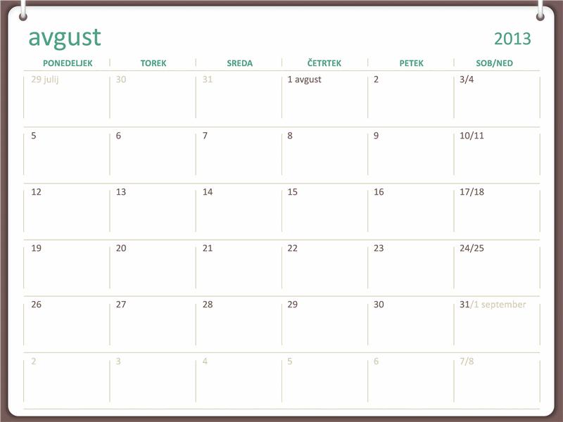 Študijski koledar 2013-2014 (avgust)