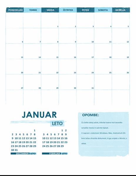 Akademski koledar (en mesec, poljubno leto, začetek na ponedeljek)