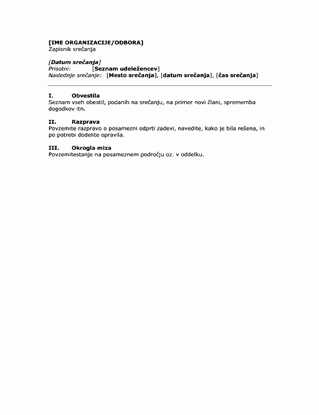 Zapisnik srečanja v podjetju (kratka oblika)
