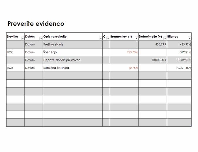Preverjanje evidence (preprosto)