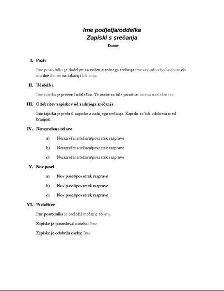 Uradni zapiski s srečanja