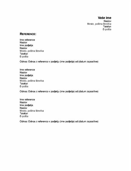 Reference v življenjepisu