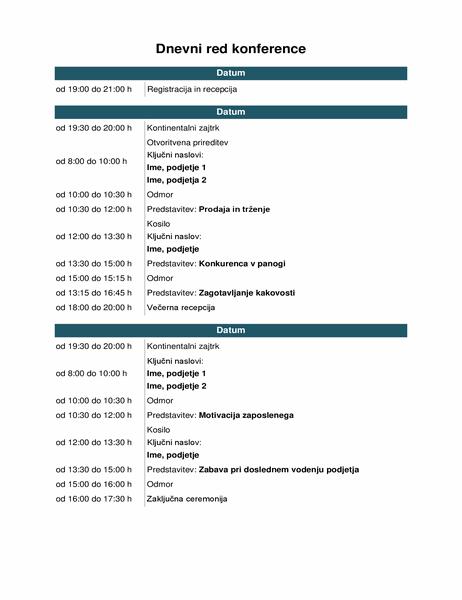 Dnevni red konferenčnega dogodka