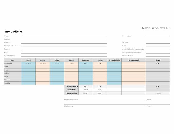 Tedenska časovnica (8 1/2 x 11, ležeče)