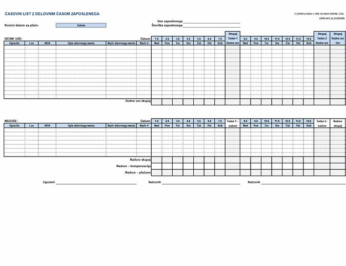 Delovna časovna kartica zaposlenega