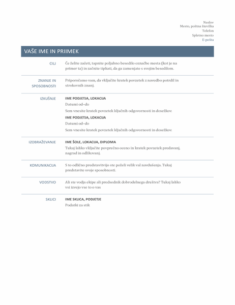 Osnovni življenjepis (brezčasni dizajn)