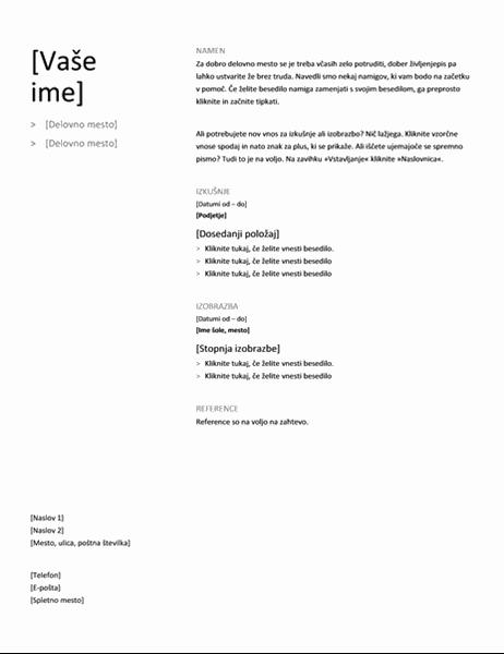 Kronološki življenjepis (preprost načrt)