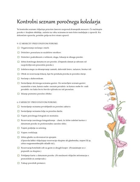 Poročni kontrolni seznam (vodne barve)